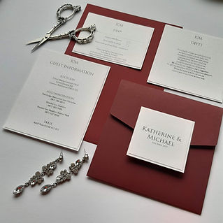 Maroon coloured pocketfold invitation