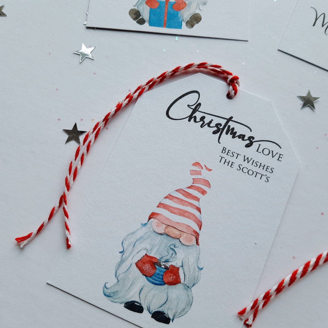 Gnome Christmas Gift Tag