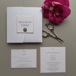 White pocketfold invite with pink edging