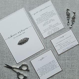 White flat style invitation suite
