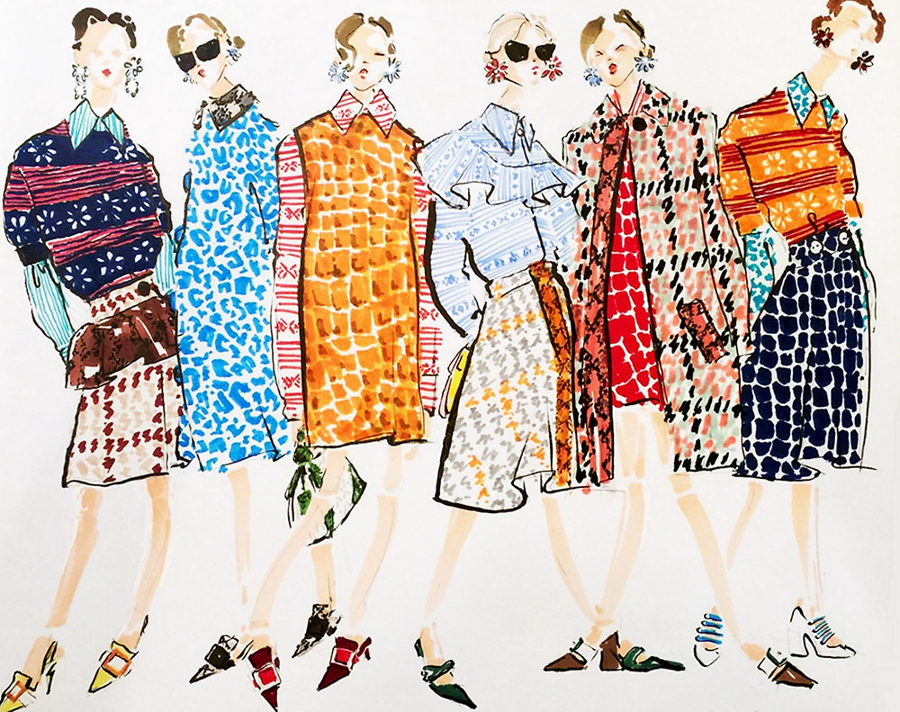 A fashion illustration collection with designer clothing sketched on paper