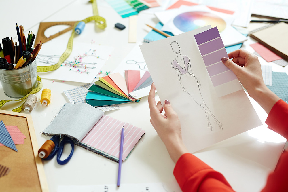 Fashion illustration with pantone colour swatches
