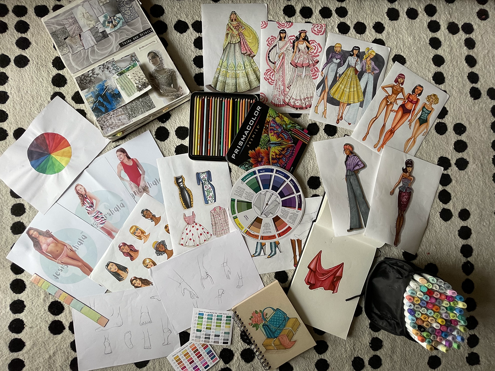 Fashion illustrations from online course at DesignerShala
