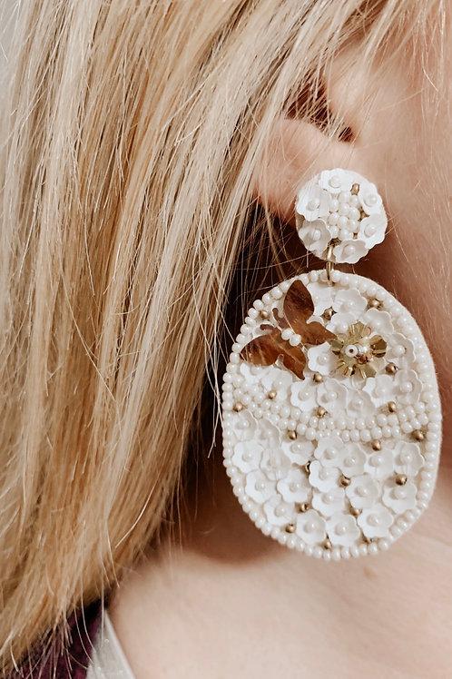 Ivory Dreams Beaded Statement Earrings