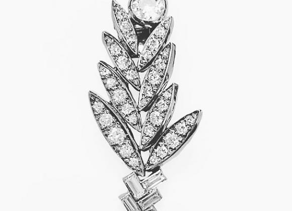 Suzanne Belperron Platinum Diamond Palm Brooch / Clip Art Deco with Certificate