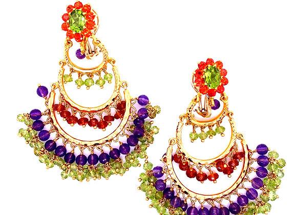 Gypsy Yellow Gold Gem Set Earrings