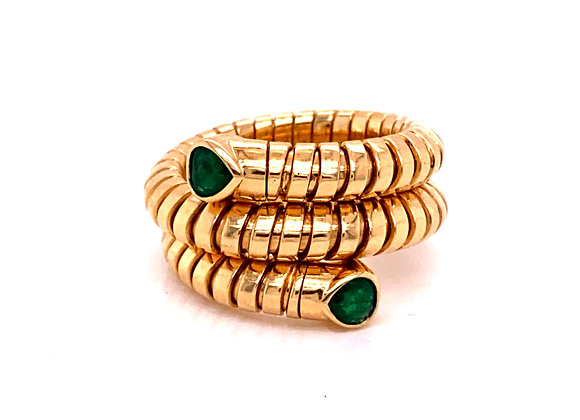 Marina B Trisola Emerald and 18K Yellow Gold Ring