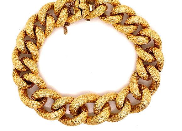 Van Cleef & Arpels 18K Yellow Gold Textured Bracelet