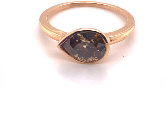 18K Rose Gold 1.42 Carat Fancy Deep Diamond Ring
