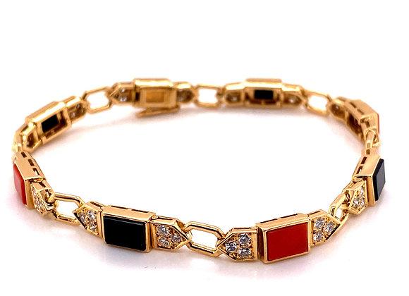 Cartier Onyx Coral Diamond Bracelet