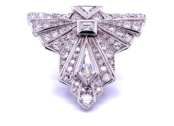 French Platinum Diamond Single Clip Brooch Art Deco
