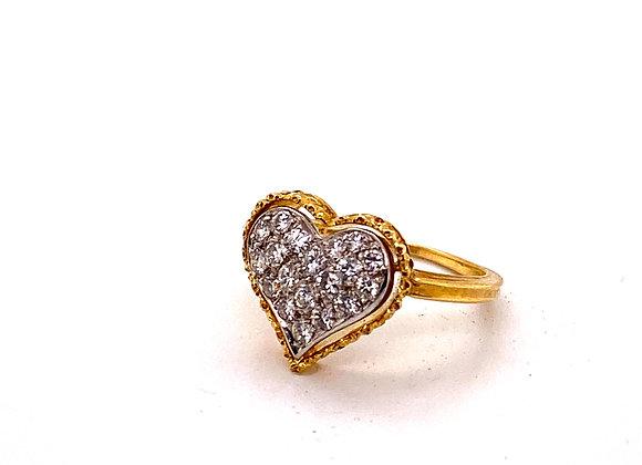 Mario Buccellati 18K Yellow Gold Diamond Heart Rin