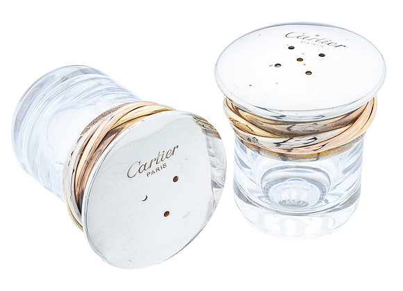 """Cartier Sterling Silver Crystal Salt & Pepper Shaker """"Trinity Collection"""""""