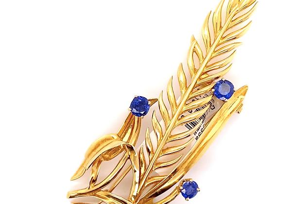 Van Cleef & Arpels 18K Yellow Gold Leaf Blue Sapphire Brooch