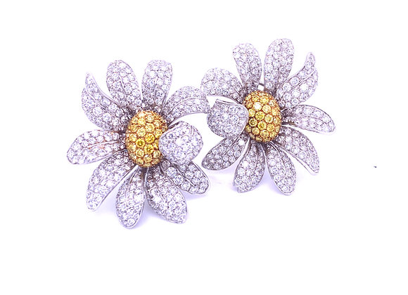 Ambrosi 18K White Gold Yellow and White Diamond Large Flower Earrings