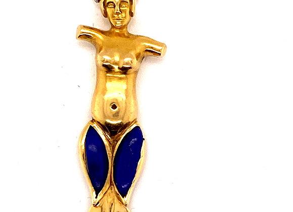 Vintage Verdura 18K Yellow Gold Lapis Lazuli Diamond Letter Opener