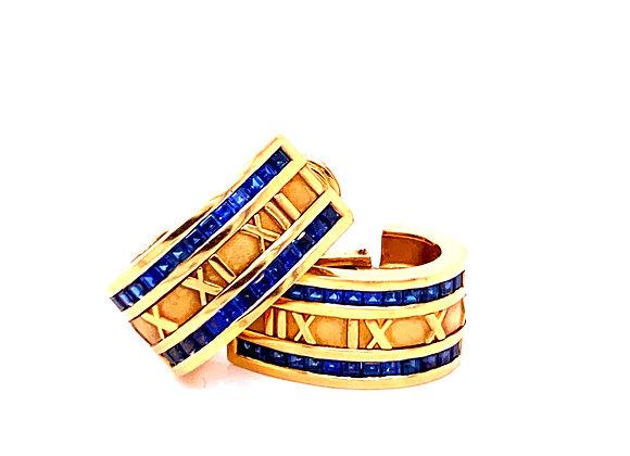 Tiffany & Co 18K Yellow Gold Sapphire Atlas Earrings