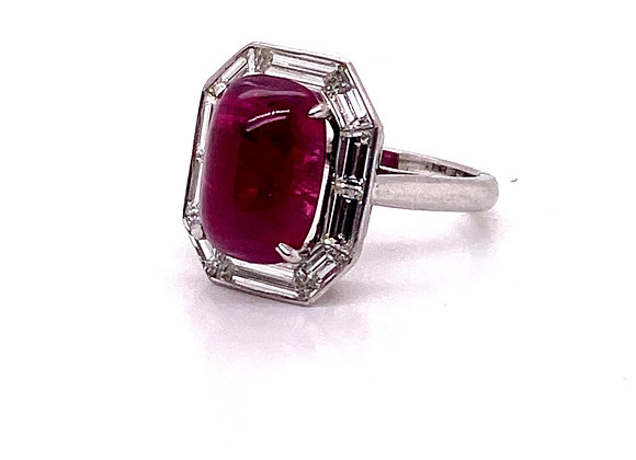 Platinum Natural Burmese Cabochon Ruby and Diamond Cocktail Ring