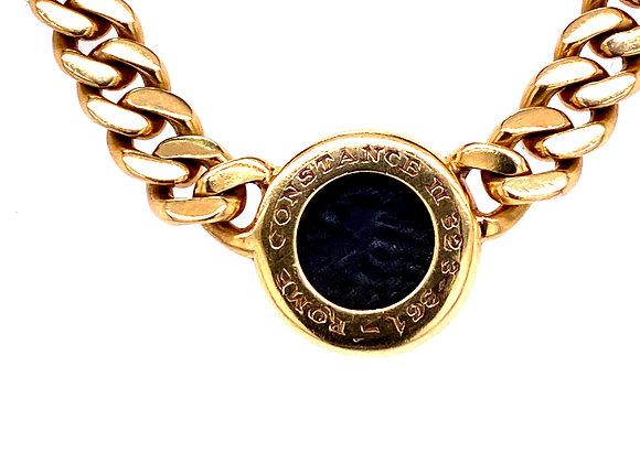 Bvlgari 18K Yellow Gold Roman Emperor Coin Necklace