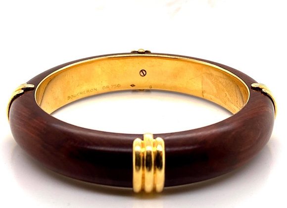 Boucheron Paris 18K Yellow Gold Wood Bangle Vintage