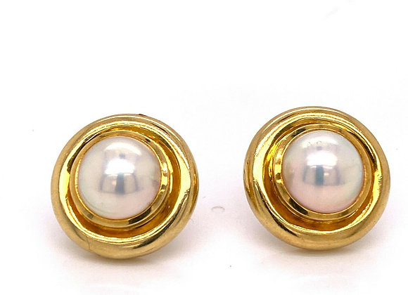 Tiffany & Co 18K Yellow Gold Mabe Pearl Earrings