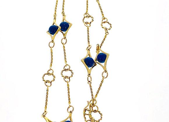Vintage 18K Yellow Gold Lapis lazuli Beads Long Sautoire Necklace