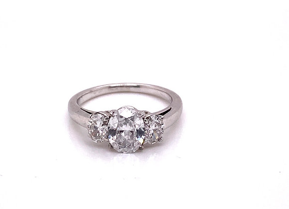 Platinum 1.00 Carat Oval Diamond D color Si1 Clarity Engagement Ring with GIA