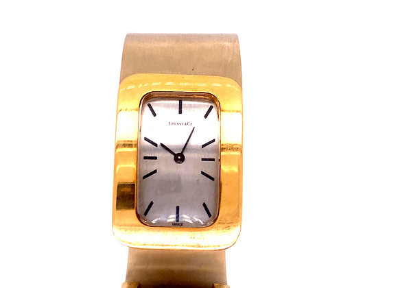 "Tiffany & Co "" 18K Yellow Gold & Steel Bangle Watch Vintage"