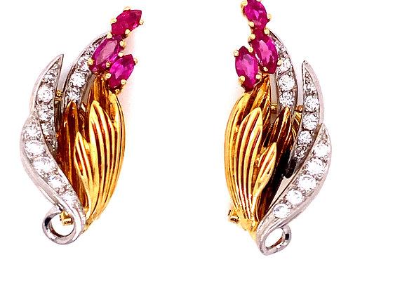 Kutchinsky  Ruby and Diamond Earrings