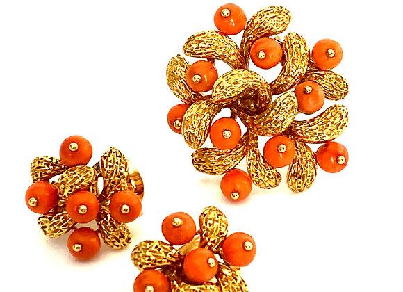 Van Cleef & Arpels 18K Yellow Gold & Coral Earrings and Brooch
