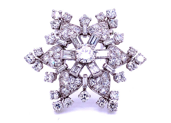 "French Platinum Diamond ""Snow Flake"" Single Clip Brooch Art Deco"
