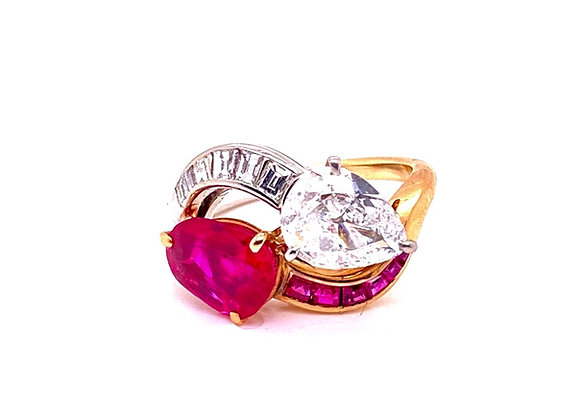 Natural Burmese Ruby and Diamond 18K Yellow Gold Platinum Bypass Ring Vintage wi