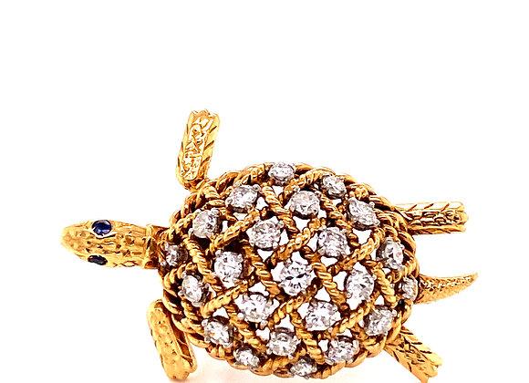 Cartier Paris 18K Yellow Gold Diamond Turtle Brooch Vintage