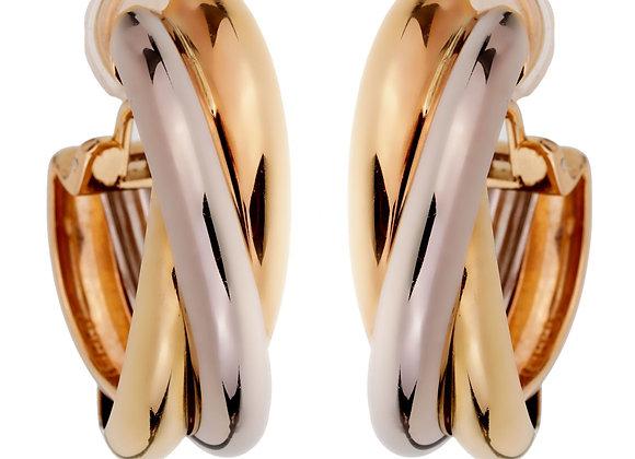 Cartier 18K Tri-color Gold Large Hoop Earrings