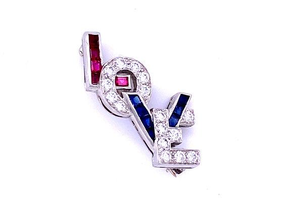 "Oscar Heyman Platinum Ruby Sapphire & Diamond ""LOVE""  Brooch Art Deco"