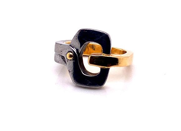 Gucci Gold And Gunmetal Ring Circa 1960