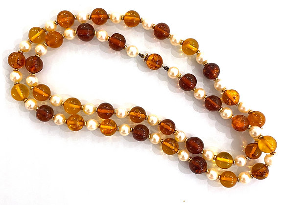 Boucheron Paris 18K Yellow Gold Amber Beads and Pearl Long Necklace Vintage