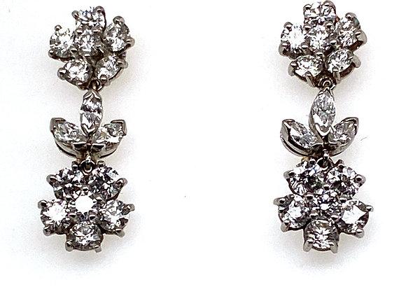 Oscar Heyman Platinum Diamond Dangling Earrings Day/Night Art Deco