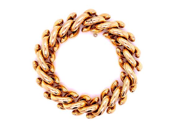 "Carlo Weingrill 18K Yellow Gold ""S"" Link Design Bracelet Vintage"