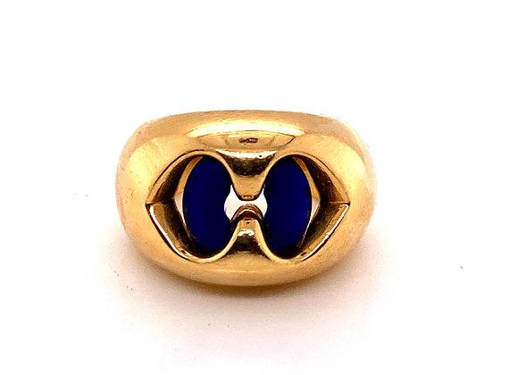 Bvlgari 18K Yellow Gold Lapis lazuli Doppio Cuore Ring Vintage