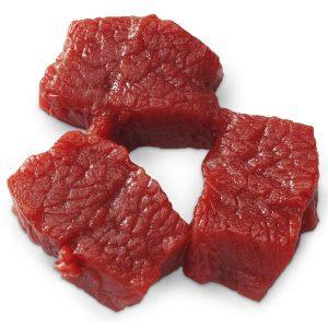 Beef cubes raw (three 1-oz. (85 g)