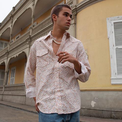 Camisa Manga Larga unisex crema margaritas