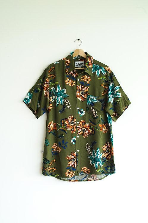 Camisa unisex chalis verde petroleo floreada