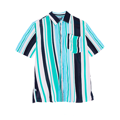 Camisa Chalis Manga Corta unisex multicolor rayas blanco, negro y rosa