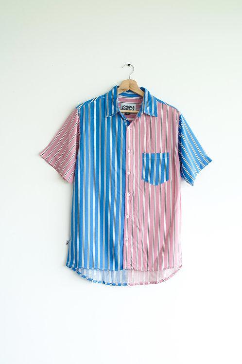 Camisa Chalis Manga Corta rayas celeste y rosado