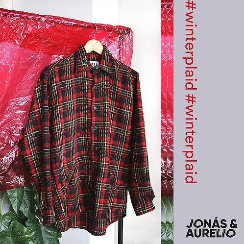 Camisa/Casaca franela rojo a cuadros negros