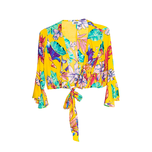 Blusa Top con bobos amarillo tropical