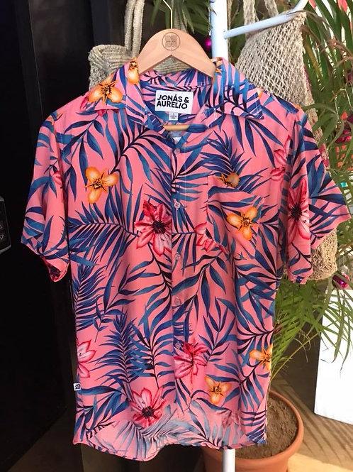 Camisa chalis unisex rosado tropical