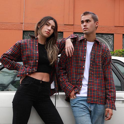 Camisa Unisex Franela Cuadros Marron y Rojo