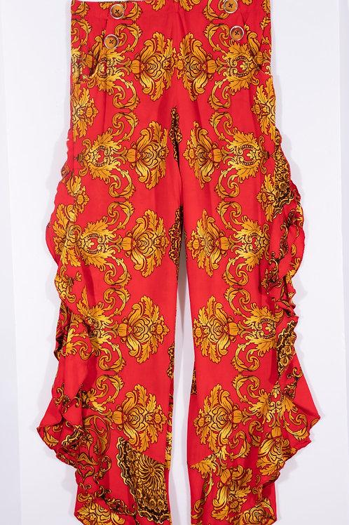 Pantalón Palazo Rojo cadenas doradas